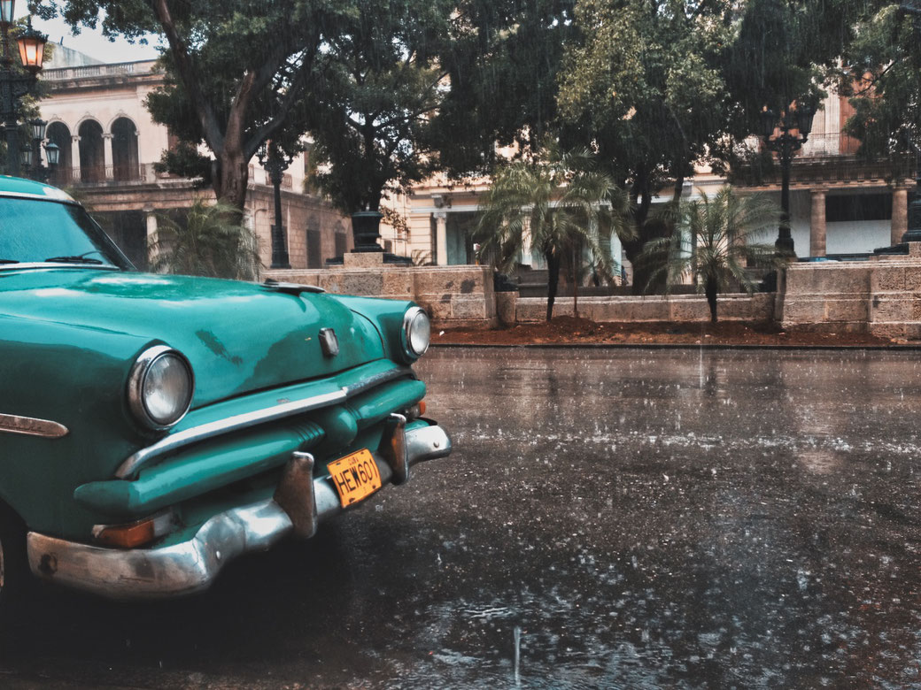 Havanna in Kuba. Oldtimer im Regen vor Palmen.