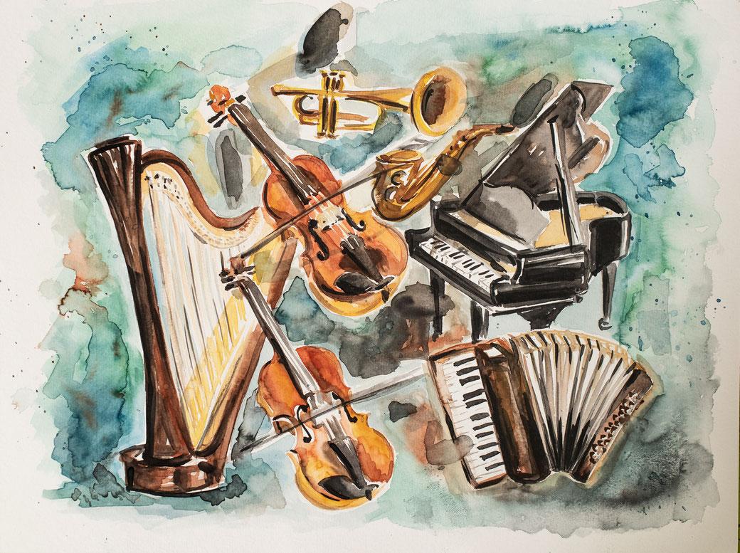 Aquarell Bild mit Klassischen Musikinstrumenten als Motiv