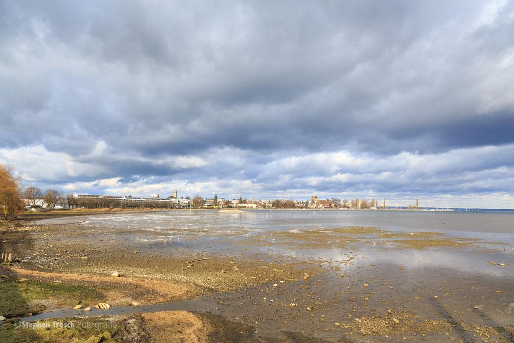 Die Steinacher Bucht im Januar 2017 bei Niederwasser