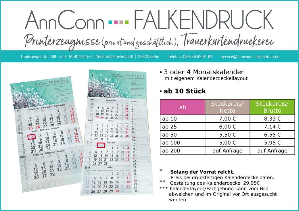 AnnConn-Falkendruck Weihnachten Werbung Kalender 2019 Kalender 2020 Köpenick Druckerei Mahlsdorf Kaulsdorf Hellersdorf