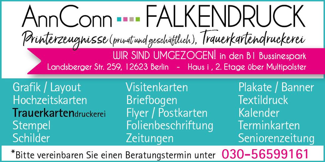 Annconn-Falkendruck Trauerkarten Druckerei Bestattung Hellersdorf Kaulsdorf Mahlsdorf Köpenick