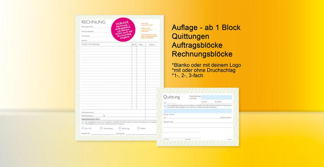 Durchschlagblock, Auftragsblock, Arbeitsblock, Quittung, Rechnungsblock ab 1 Stück - mit oder ohne Druchschlag, Selbstdurchschreibend, Durchschlagblock, SD