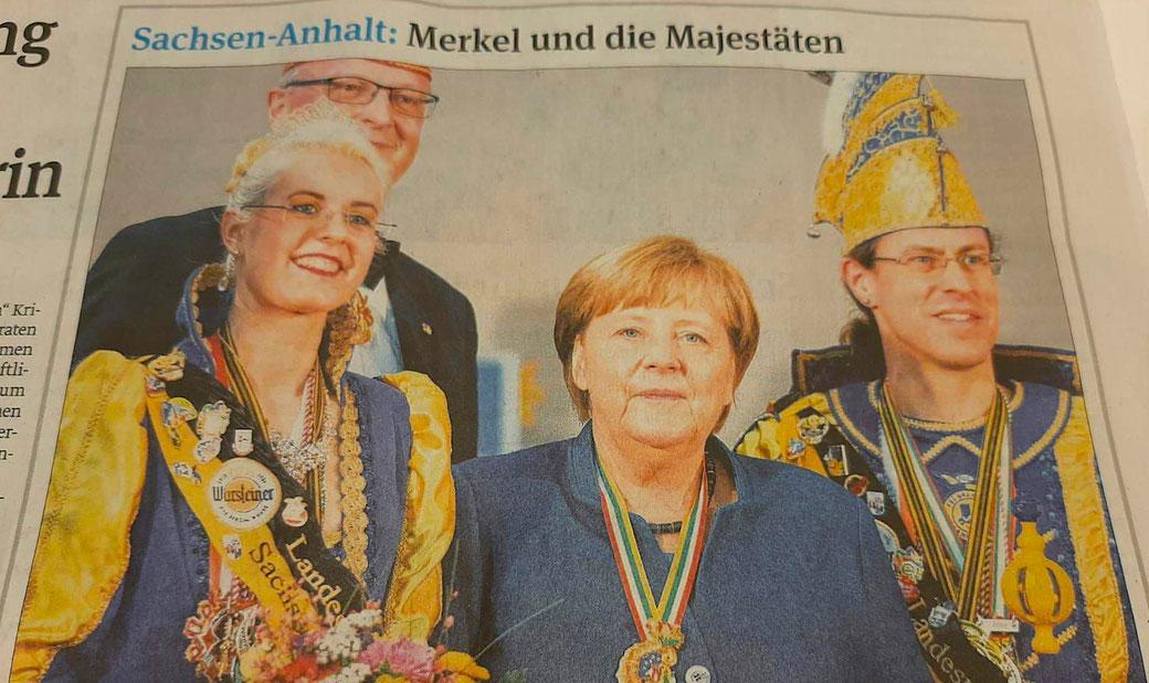 Mit diesem Foto berichtet die Volksstimme vom Treffen des Prinzenpaars mit Bundeskanzlerin Angela Merkel.
