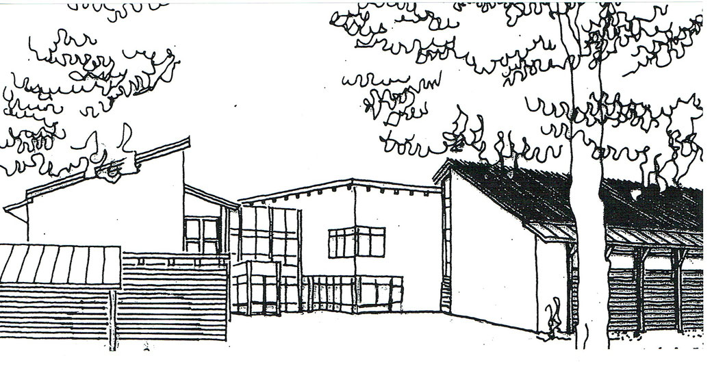 Unser Logo: Eine Zeichnung des Gebäudes