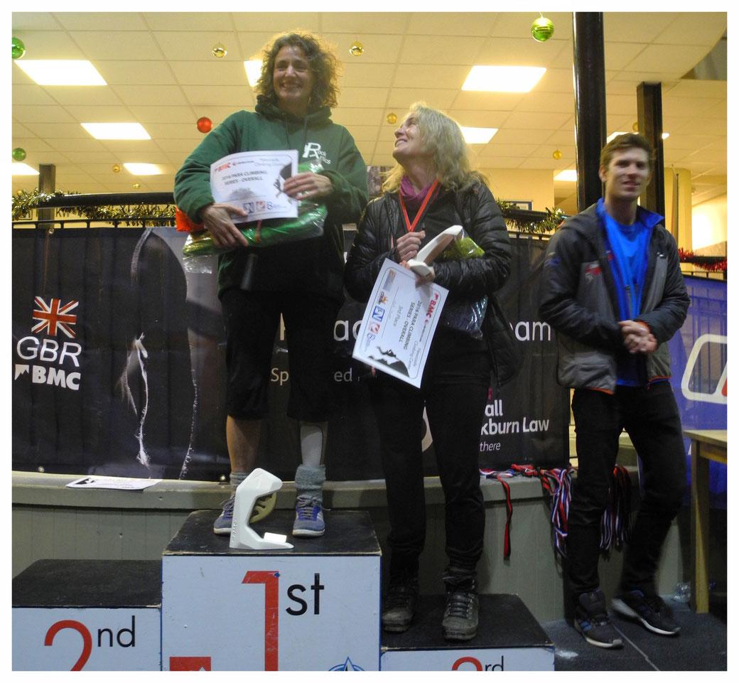 Joanna Waterton (left) during the 2016 BMC Paraclimbing Series in Newcastle