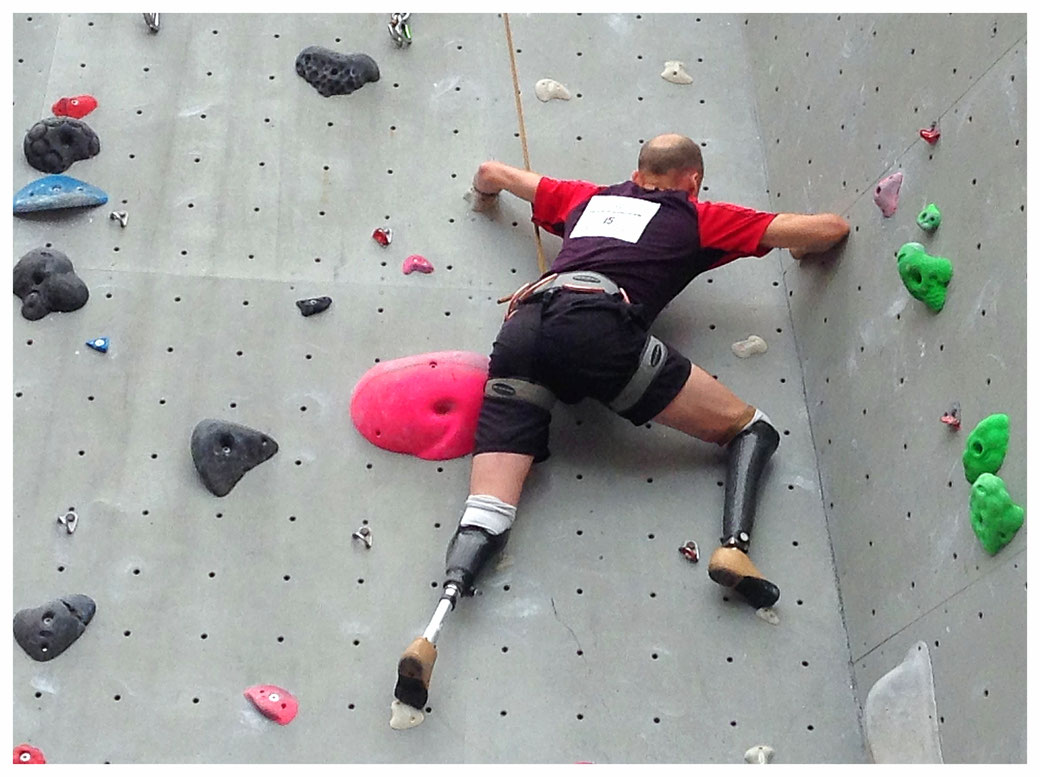 Quadruple amputee Jamie Andrew during the opening competition of the 2015 Paraclimb Series in Edinburgh.