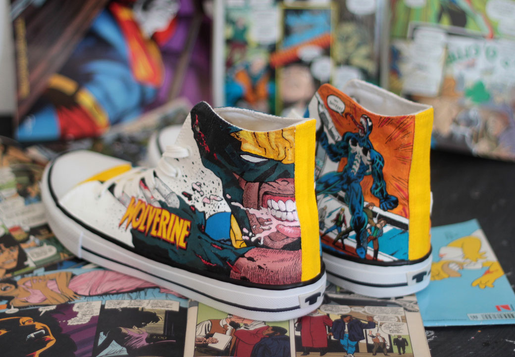 Marvel Comic shoes - Wolverine Carnage by bobsmad