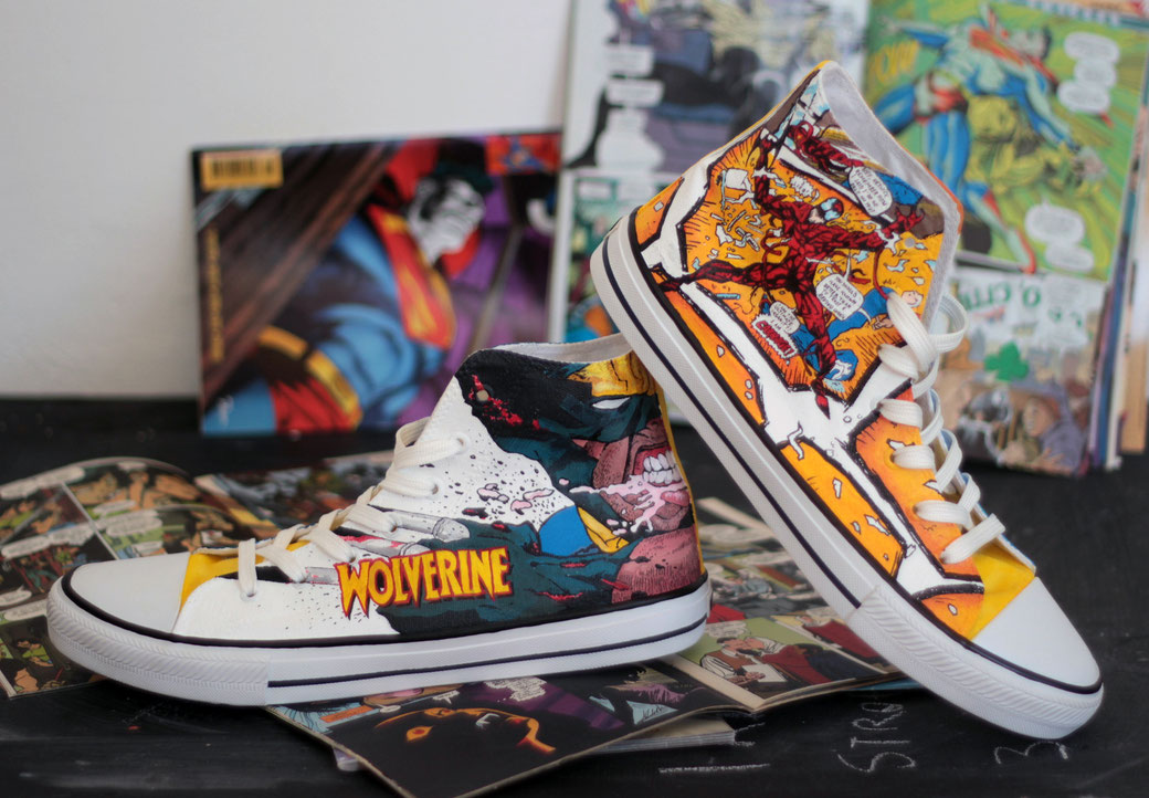 Marvel Comic shoes - Wolverine Carnage by bobsmade