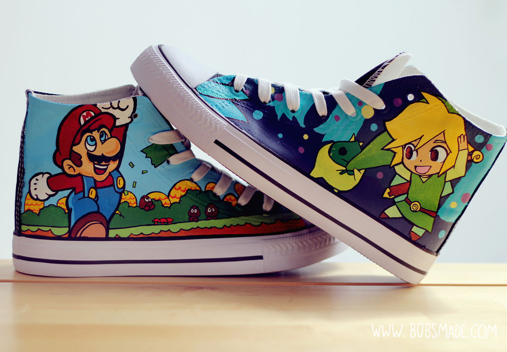 Super mario X Zelda Link shoes by bobsmade