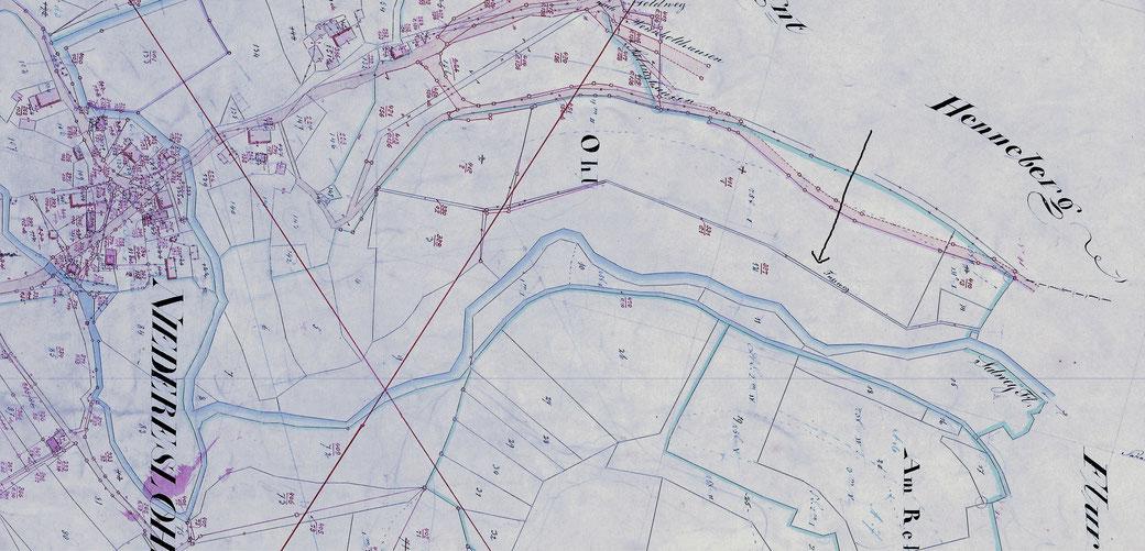 """Kartenausschnitt (um 1830): Hier ist der Fußweg durchs """"Hunersnest"""" eingetragen! - Besser sehen mit einem Klick auf die Maustaste -"""