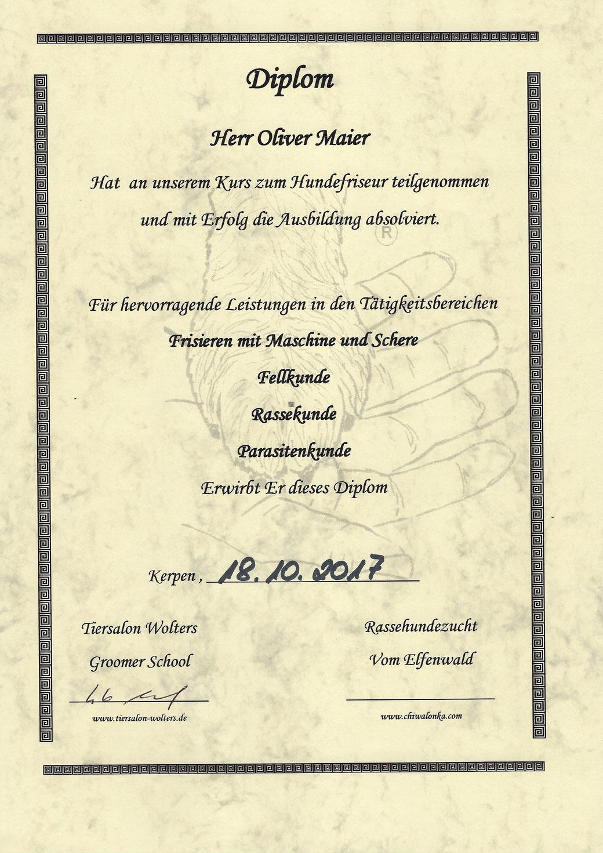 Diplom zum Hundefriseur