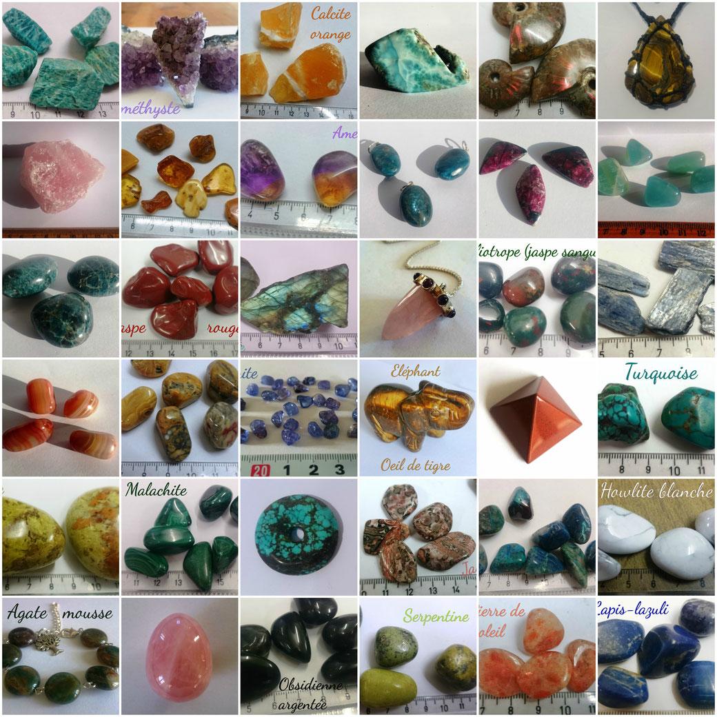 Catalogue des pierres et minéraux vendus à la boutique Le Mandala, située à Fleurance.