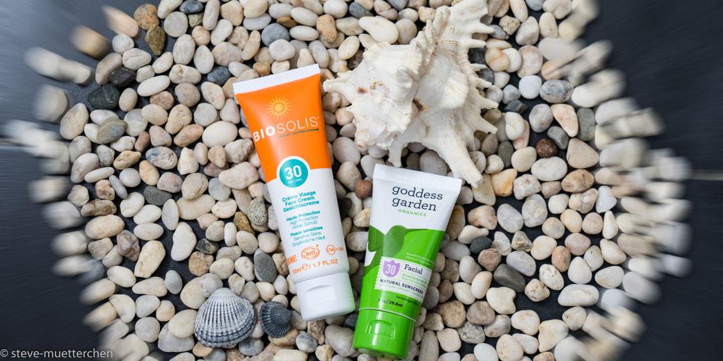 Biosolis & goddess garden Sonnencreme fürs Gesicht