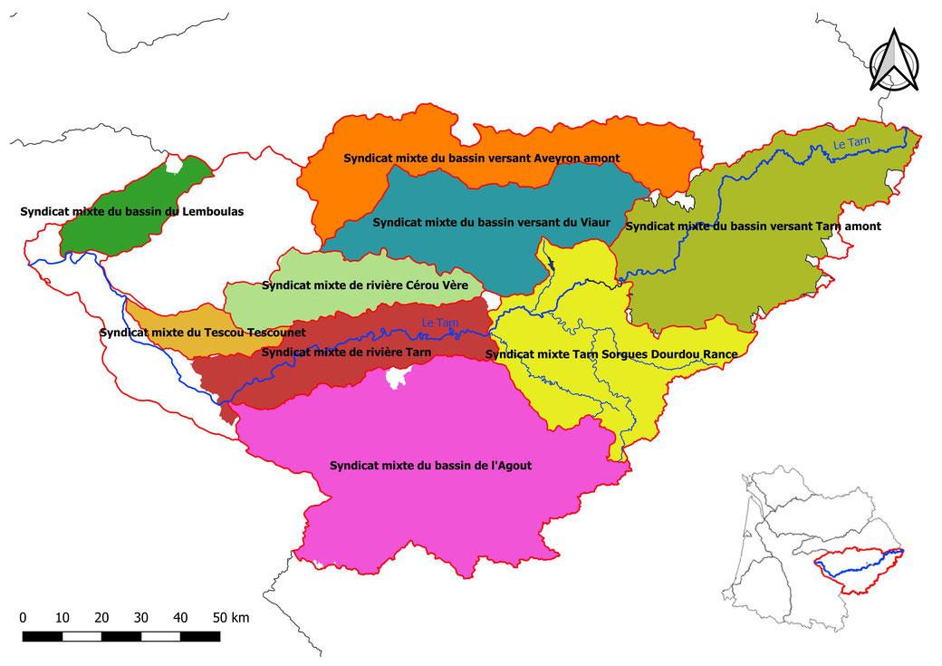 Carte du bassin versant Tarn-Aveyron