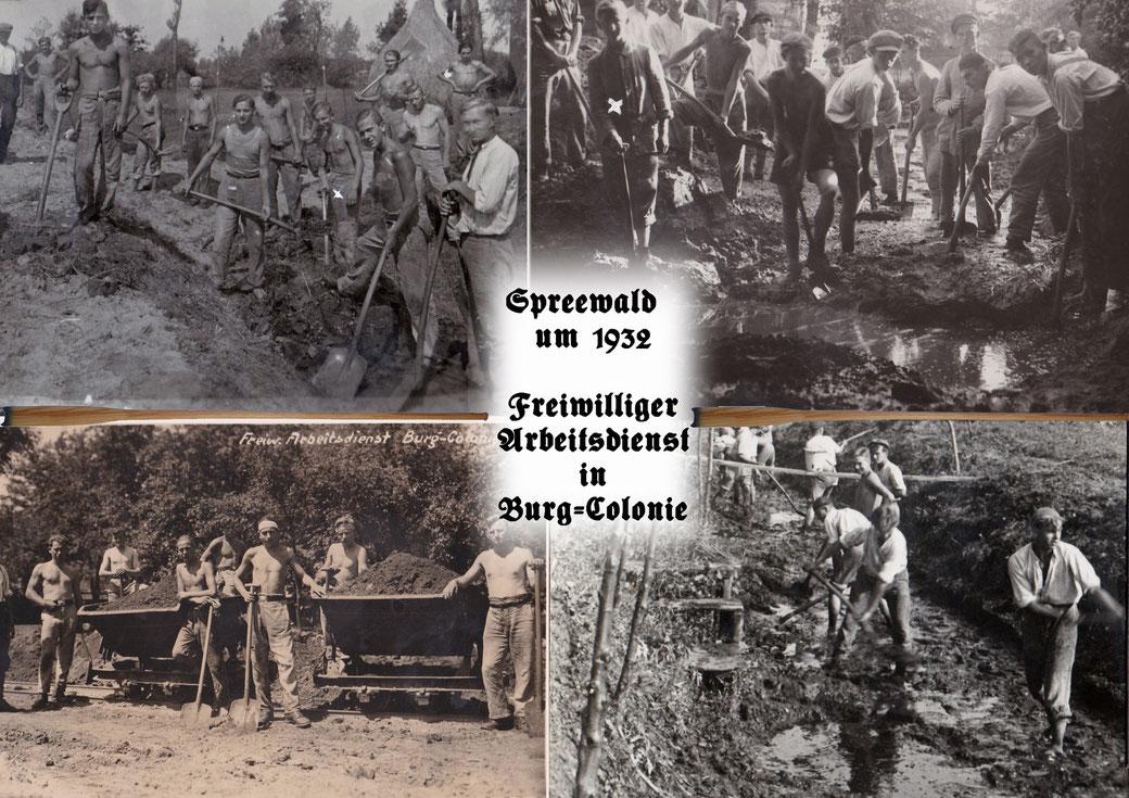 Spreewald um 1932 - Freiwilliger Arbeitsdienst in Burg-Colonie