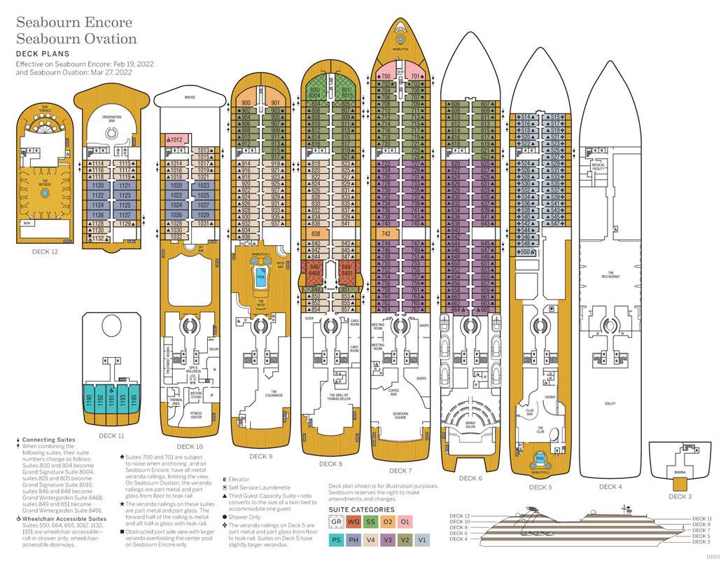 Deckplan SEABOURN Encore
