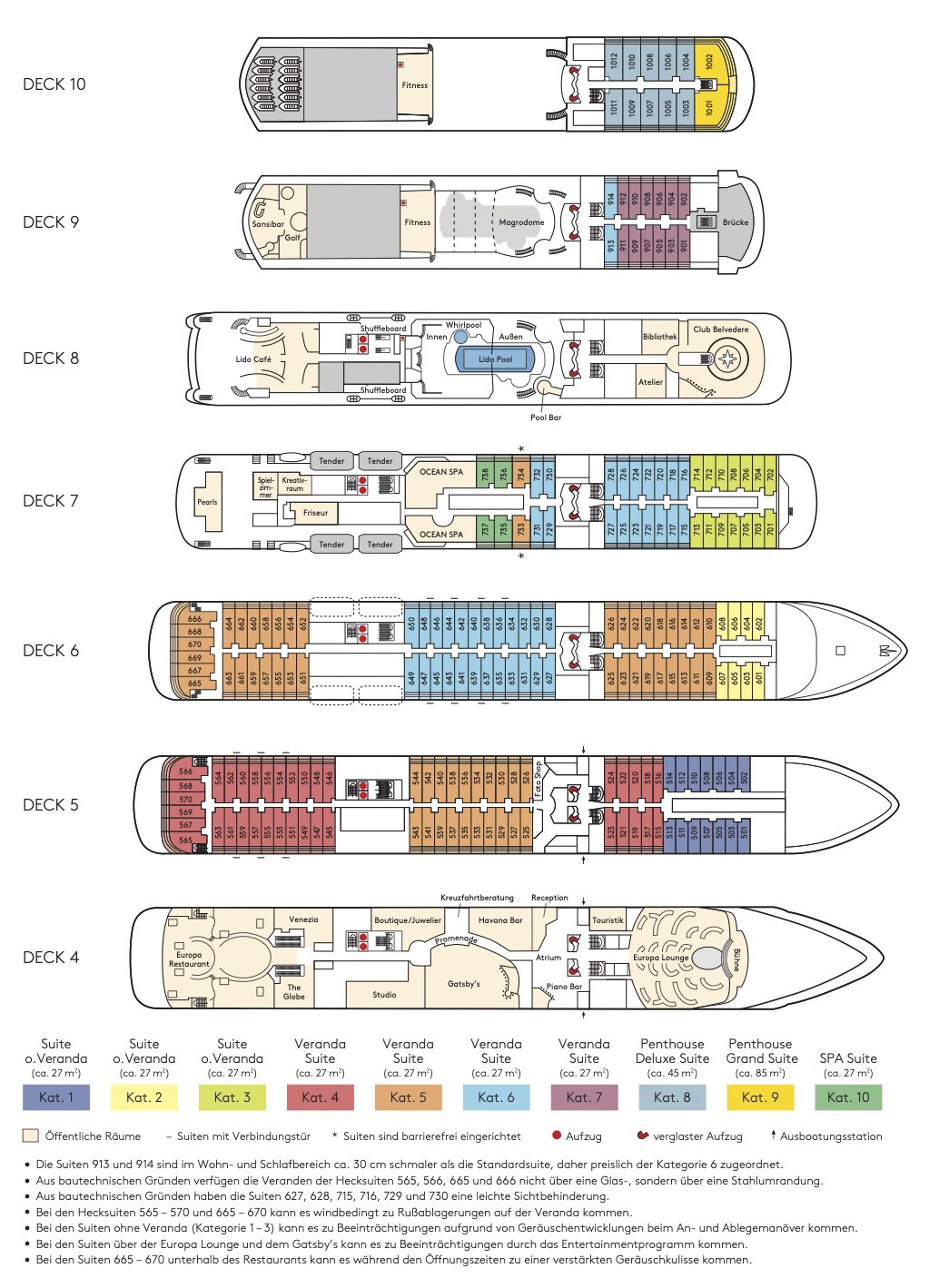 Deckplan MS EUROPA