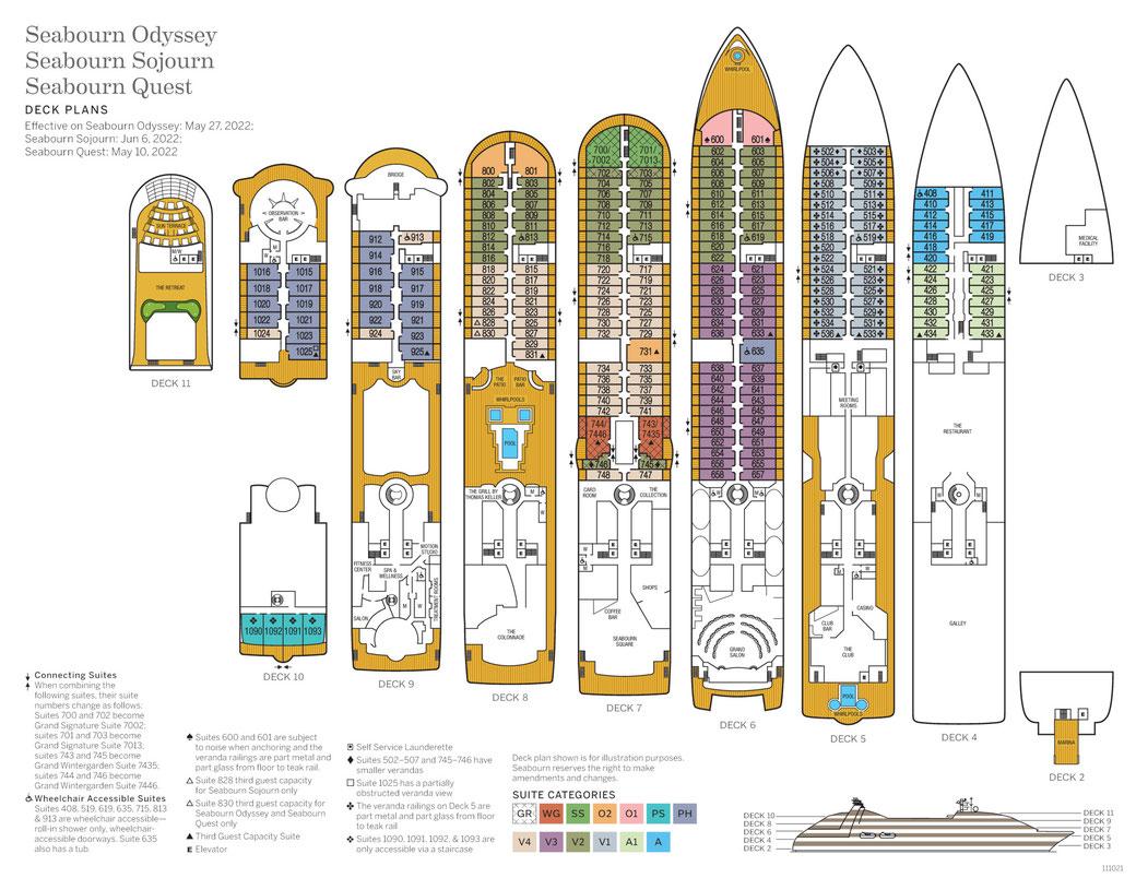 Deckplan Seabourn Quest