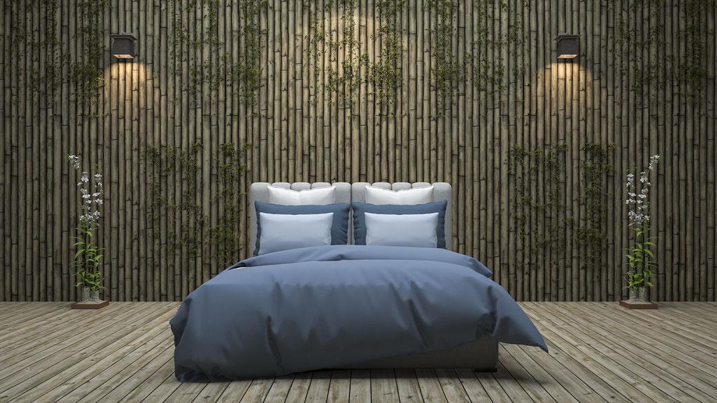 Bambustapeten Bett