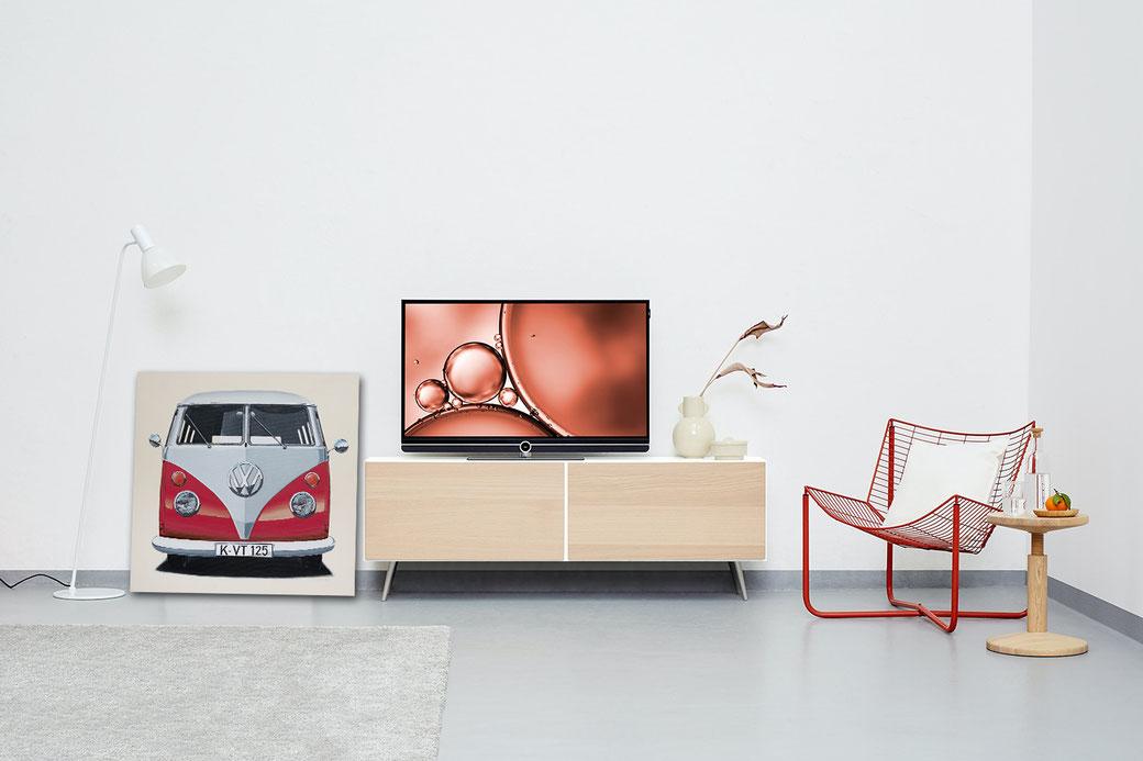 Volkswagen Bulli Leinwanddruck in Wohnraum