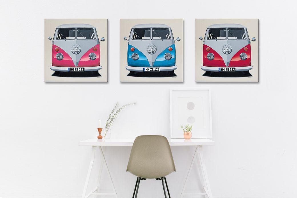 Der großformatige Leinwanddruck des VW T1 Bulli in 8 prägnanten Fahrzeugfarben - individuell mit Wunsch-Kennzeichen. Gemälde ©Markus Scholemann.