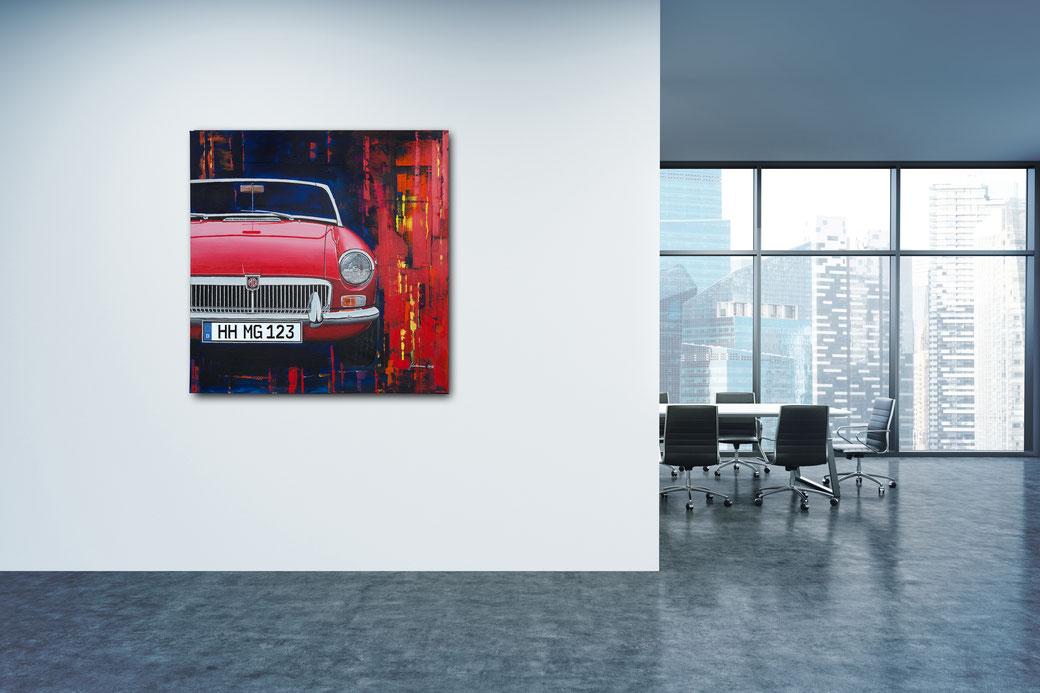 Das MG Bild im Büro-Ambiente. Der großformatige Leinwanddruck des MGB in 9 prägnanten Fahrzeugfarben - individuell mit Wunsch-Kennzeichen. So wird jeder MG-Druck zum Unikat.