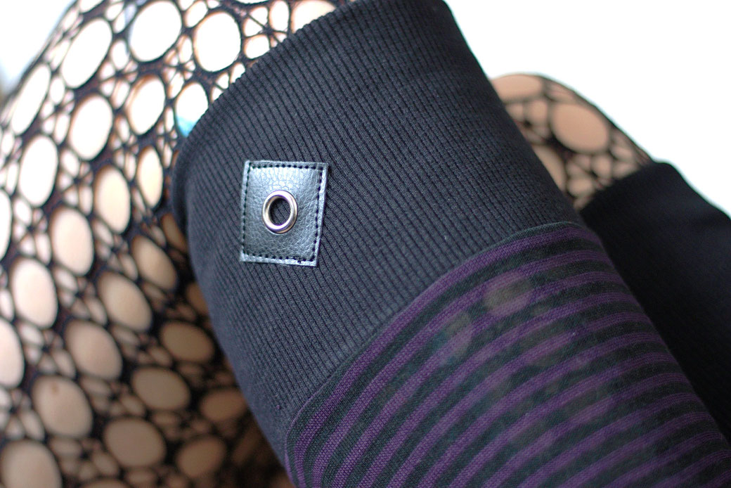 New leg warmers and a belt bag - purple and black stripes and grommet on faux leather - Zebraspider Eco Anti-Fashion