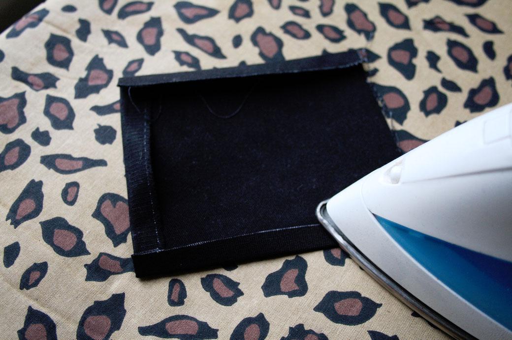 5 ways to sew on patches - fold and iron edges - Zebraspider Eco Anti-Fashion Blog