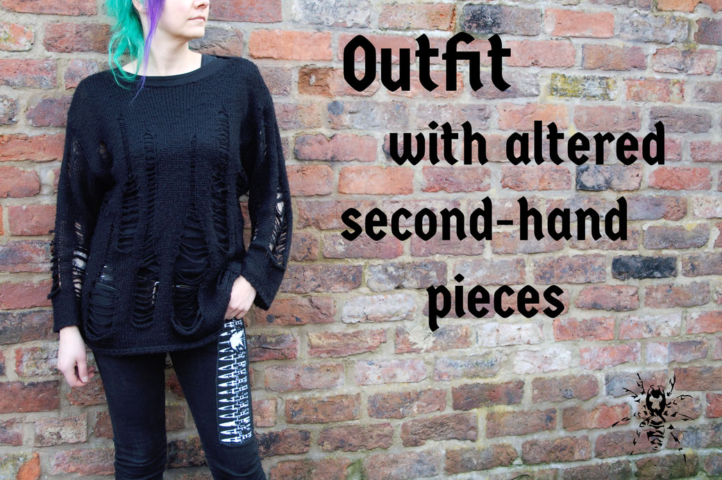 Outfit with altered second-hand pieces - Zebraspider Eco Anti-Fashion Blog