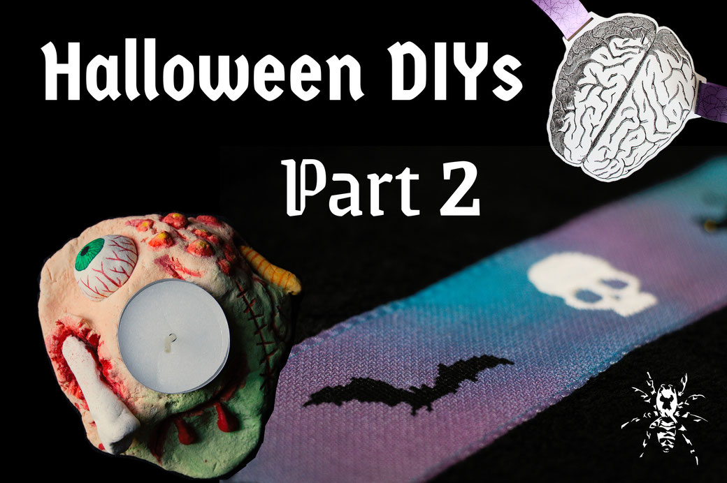 Halloween DIYs Part 2 - paper garland, candle holder and cross-stitch towel - Zebraspider Eco Anti-Fashion