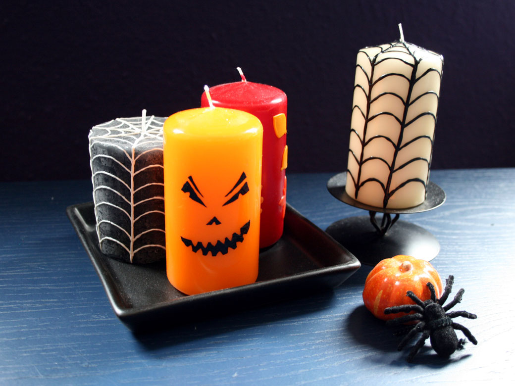 Halloween DIYs Part 1 - decorating candles - Zebraspider Eco Anti-Fashion