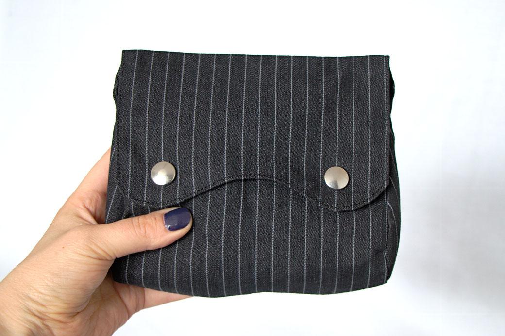 Custom belt bags and summer tops - black pinstripe belt bag - Zebraspider Eco Anti-Fashion