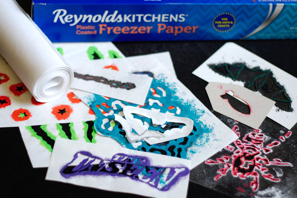 How to stencil on fabric - freezer paper and other stencilling materials - Zebraspider DIY Anti-Fashion Blog