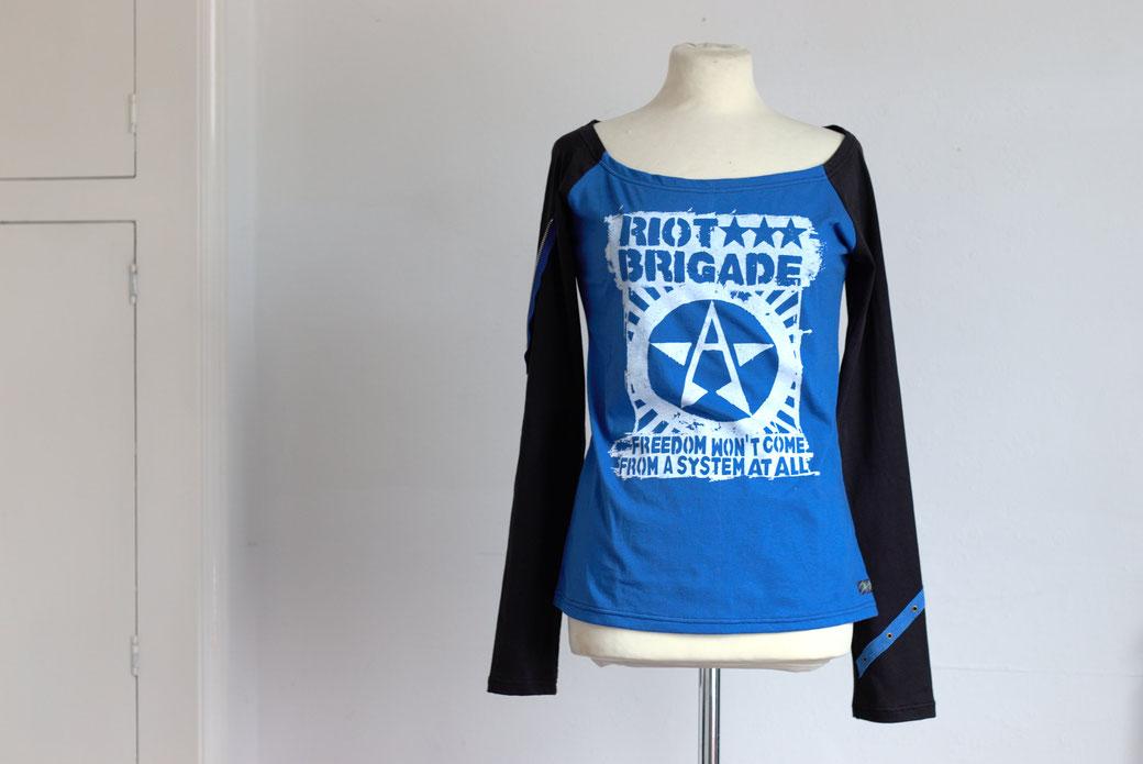 Punk as Fuck Recharged Mini Collection - Riot Brigade blue/black raglan long sleeve shirt - Zebraspider Eco Anti-Fashion