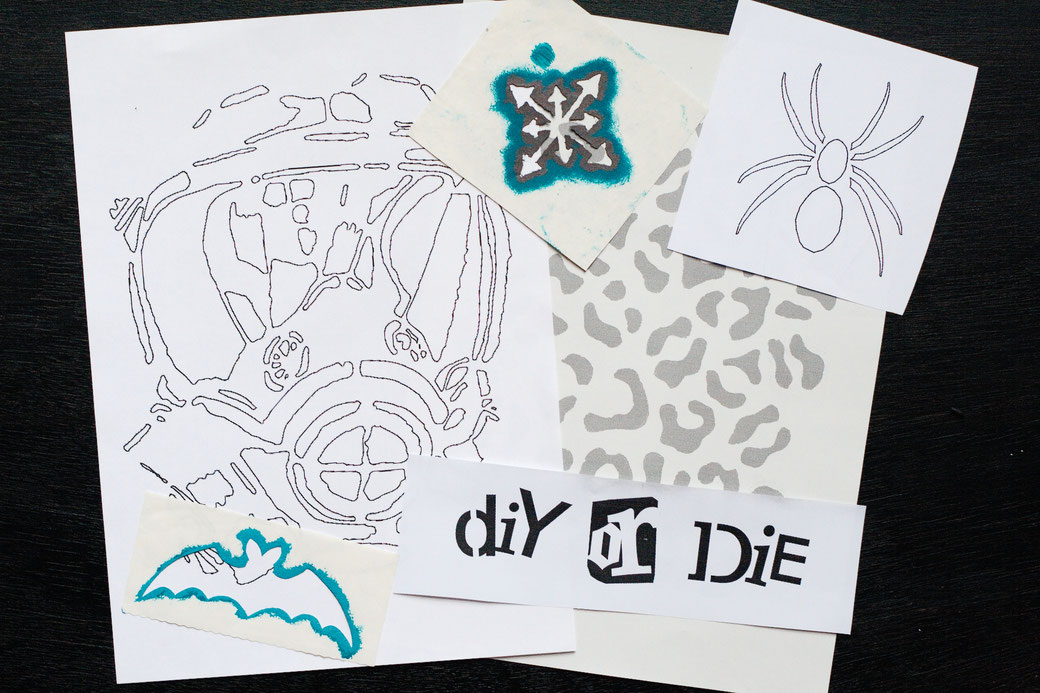 How to stencil on fabric with freezer paper - where to find stencil designs - Zebraspider DIY Anti-Fashion Blog