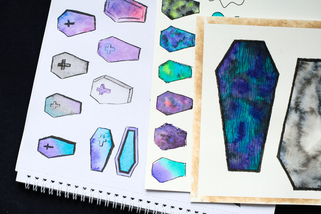 My 100-day project: Designing fabric patterns - ink and watercolour studies of coffins in purple and teal  - Zebraspider Eco Anti-Fashion Blog