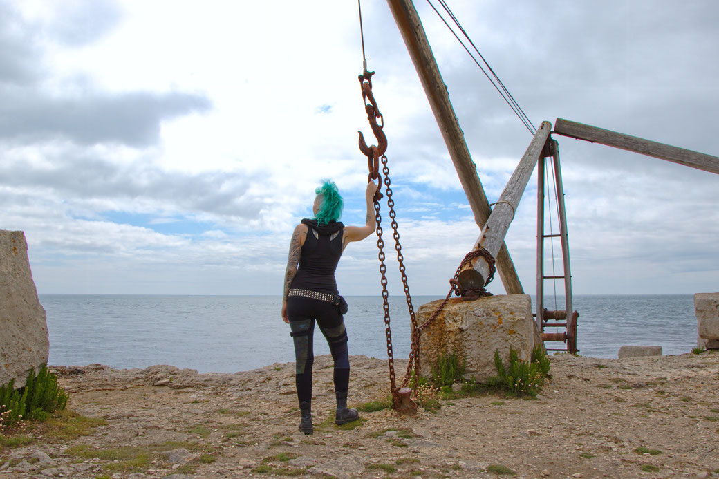 Seafront Quarry Outfit with Spirit of lunar and Crisiswear - with an old crane - Zebraspider Eco Anti-Fashion