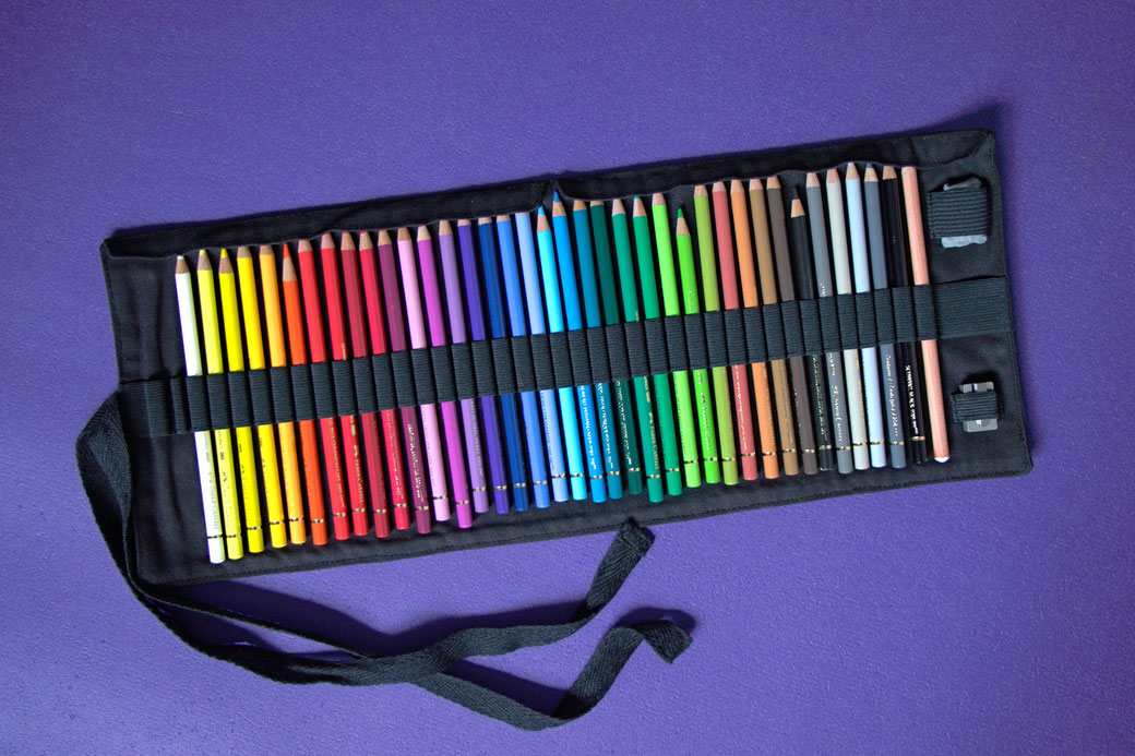 How to sew a pencil wrap - for 40 coloured pencils, rubber and sharpener - Zebraspider Eco Anti-Fashion