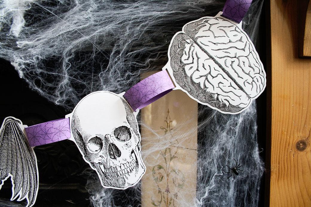 Halloween DIYs Part 2 - paper garland skull, brain and bat anatomical drawings - Zebraspider Eco Anti-Fashion