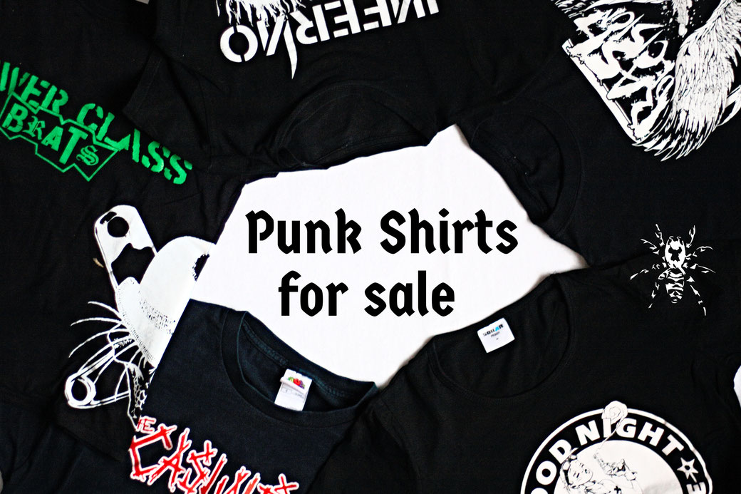 Punk shirt fleamarket - Band tees and more for sale - Zebraspider Eco Anti-Fashion Blog
