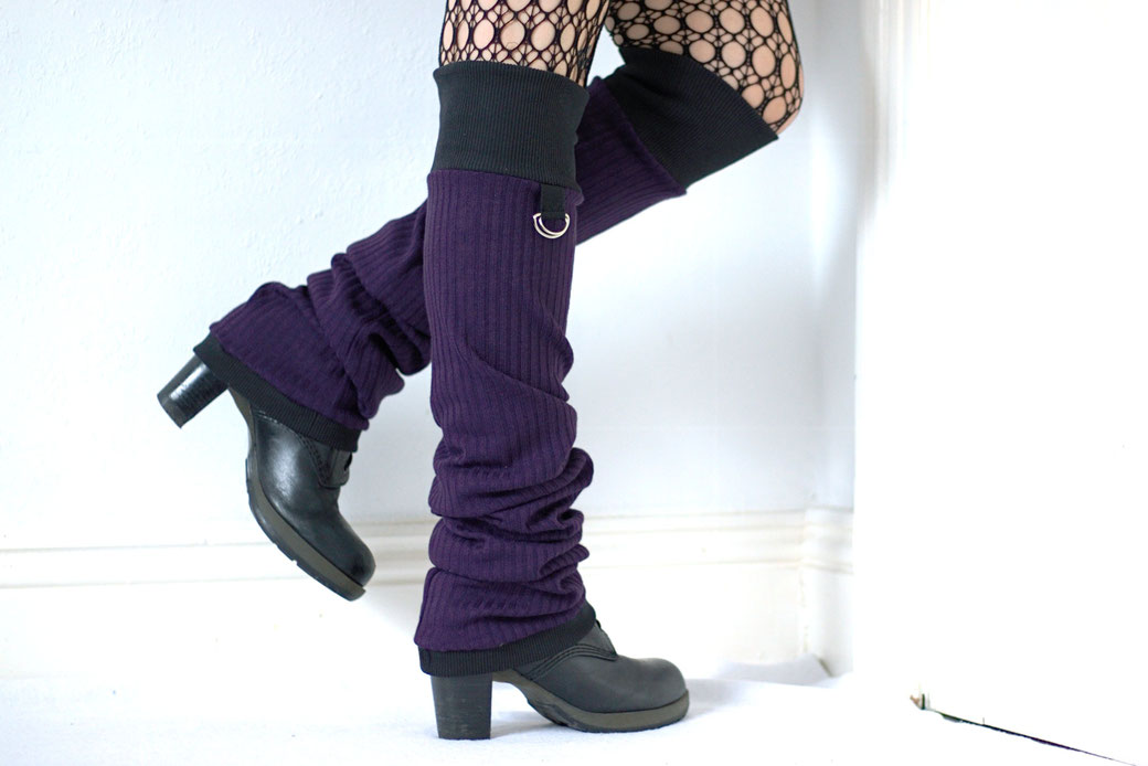 New leg warmers and a belt bag - purple ribbed knit and black cuffs with D-rings - Zebraspider Eco Anti-Fashion