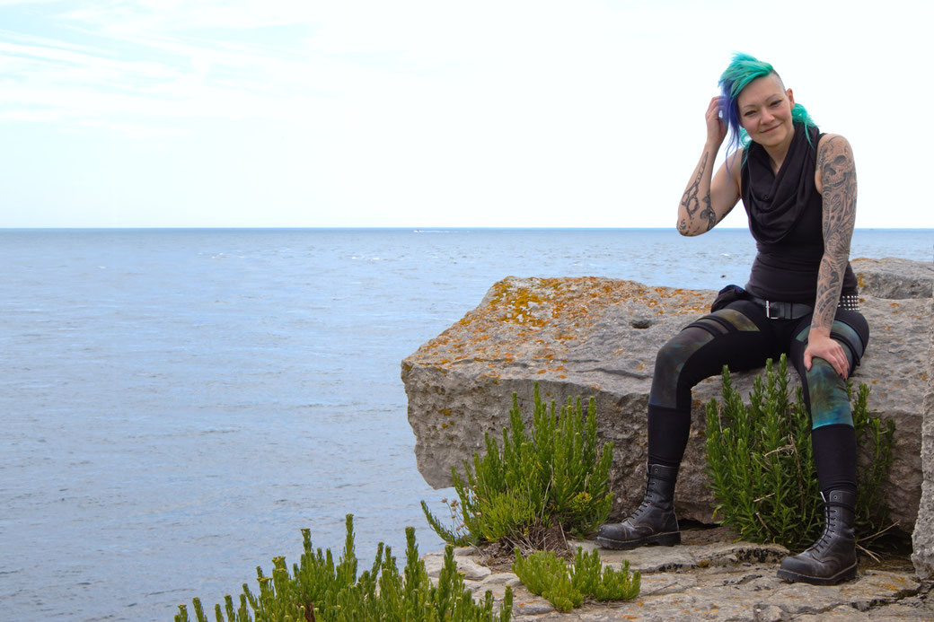 Seafront Quarry Outfit with Spirit of lunar and Crisiswear - sitting on portland stone blocks -  Zebraspider Eco Anti-Fashion