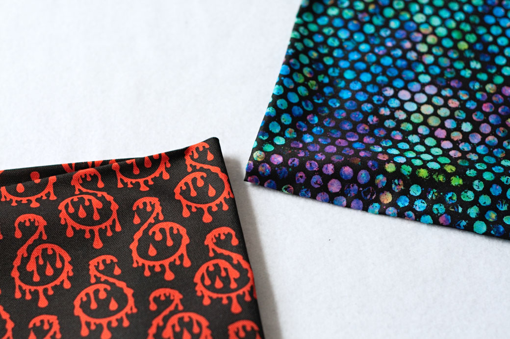 100 days of pattern design or not - bloody ornaments and colourful dots fabric - Zebraspider Eco Anti-Fashion Blog
