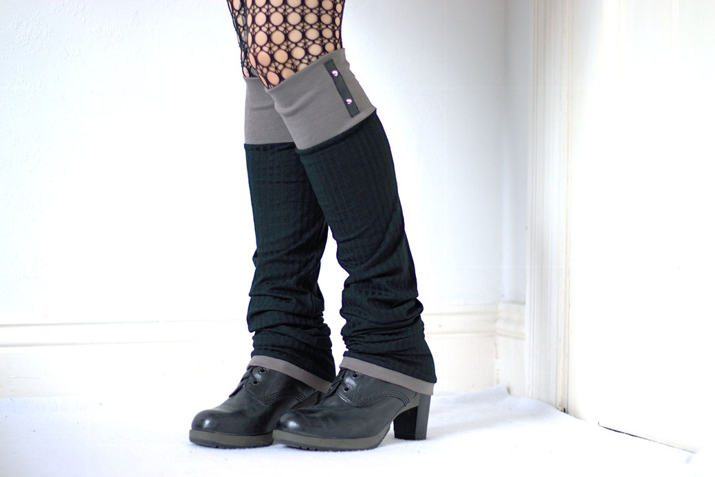 New leg warmers and a belt bag - grey and black ribbed knit and studs - Zebraspider Eco Anti-Fashion