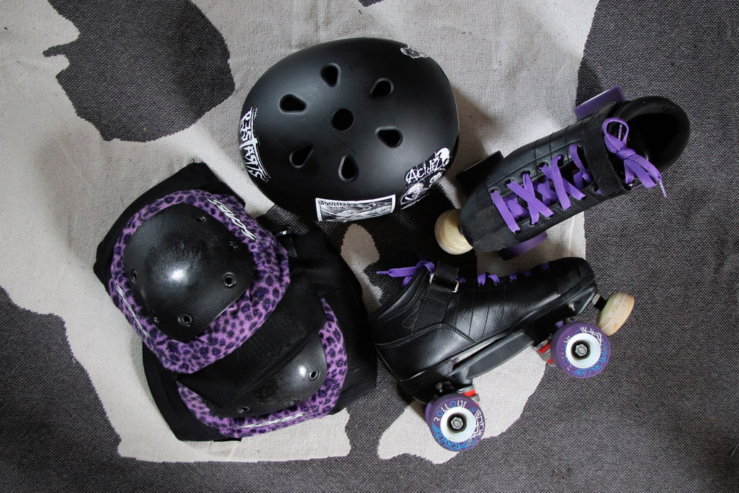 My new camera and other things I love - Roller Derby kit black purple punk & leopard -  Zebraspider Eco Anti-Fashion