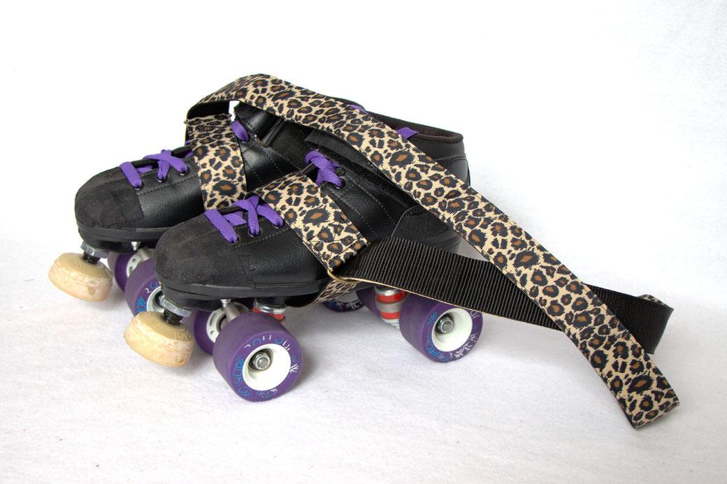 Custom belt bags and summer tops - natural leopard print skate leash - Zebraspider Eco Anti-Fashion