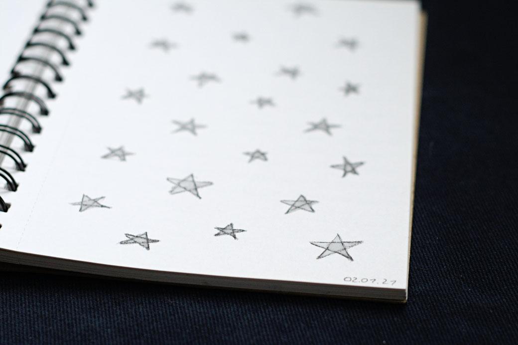 My 100-day project: Designing fabric patterns - stars sketch - Zebraspider Eco Anti-Fashion Blog