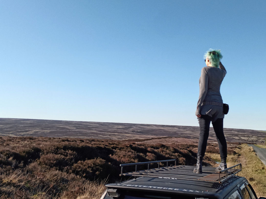 Everyday post-apocalyptic outfits with Ynhoia and Dorawyn - looking over Yorkshire Moors - Zebraspider Eco Anti-Fashion