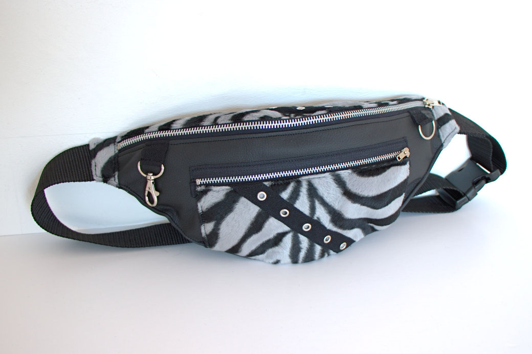New leg warmers and a belt bag - grey zebra faux fur and faux leather - Zebraspider Eco Anti-Fashion