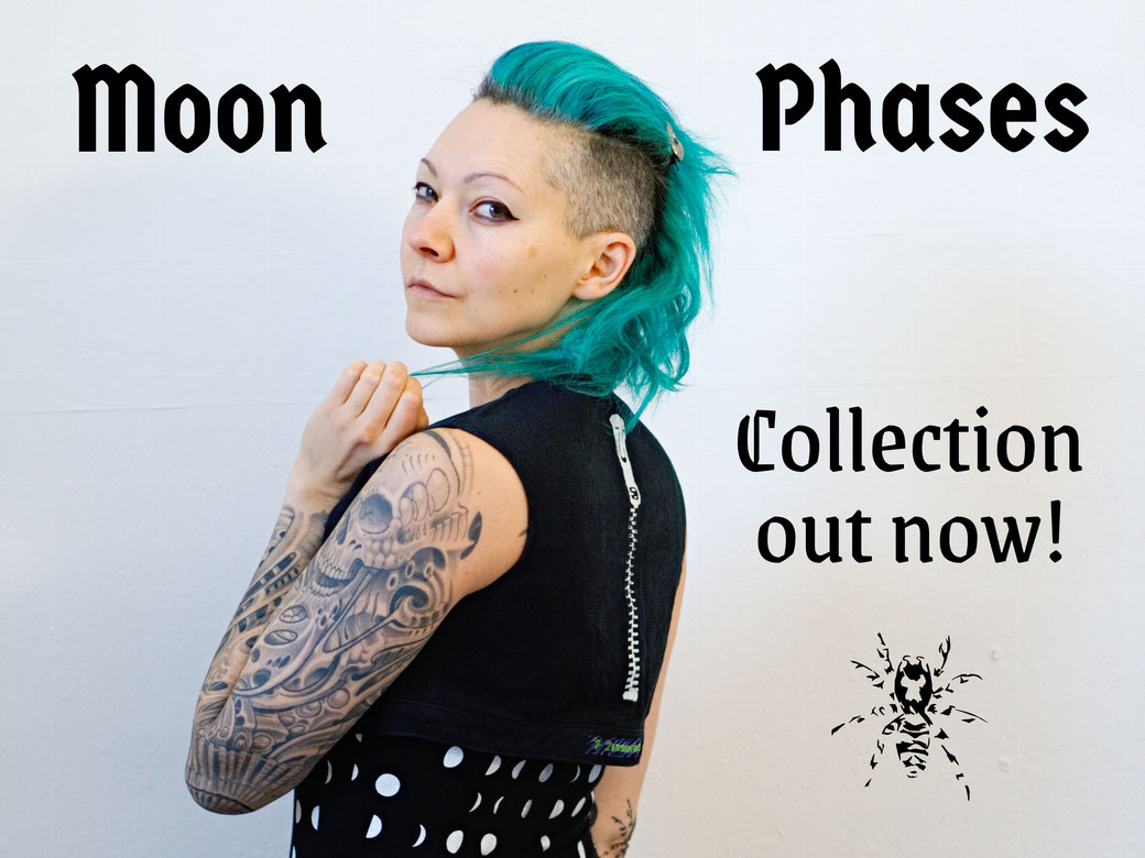 Moon Phases collection out now! - Eco-friendly dress, vest, skirt and bags - Zebraspider Eco Anti-Fashion